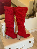 Bling Red Ruched Boots