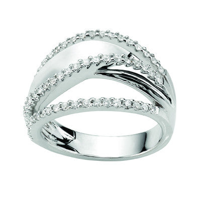 White Gold Swirl Diamond Dress Ring