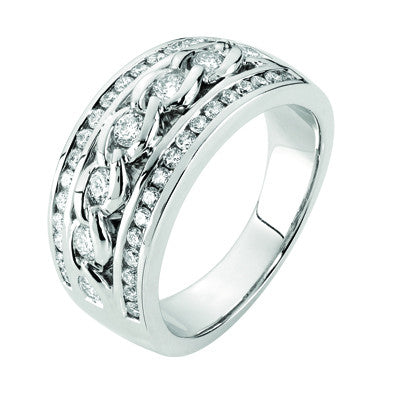 White Gold Chain Style Diamond Dress Ring