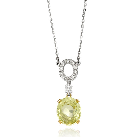 Chrysoberyl and Diamond Pendant