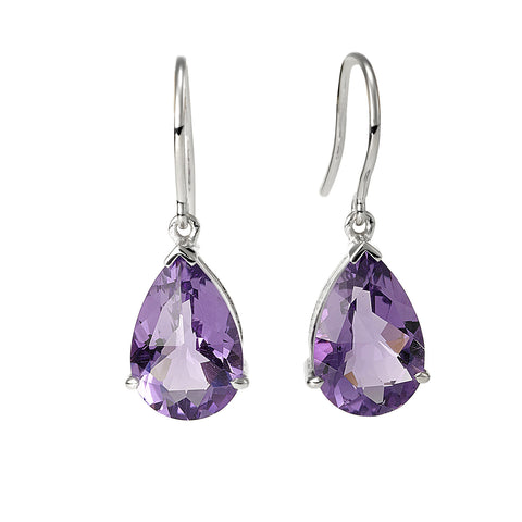 White Gold Amethyst Teardrop Earrings