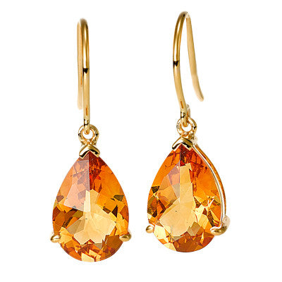 Pear Shape Citrine Earrings
