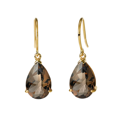 Pear Shape Smokey Quartz Earrings