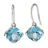 Cushion Cut Blue Topaz Earrings