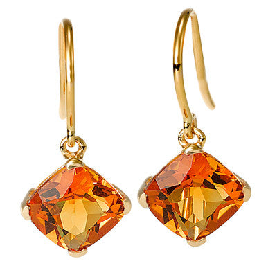 Cushion Cut Citrine Hook Earrings