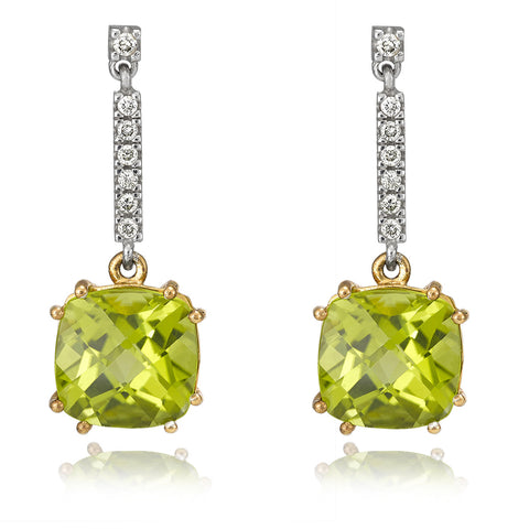 Peridot and Diamond Drop Earrings.