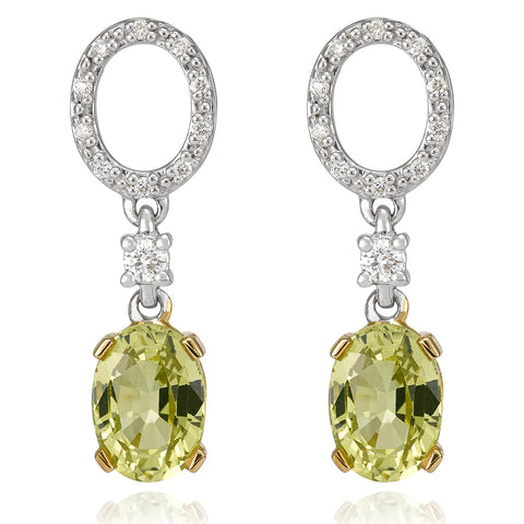 Chrysoberyl and Diamond Drop earrings