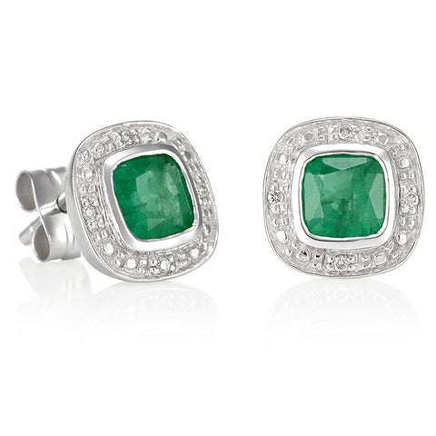Emerald and Diamond Stud Earrings.