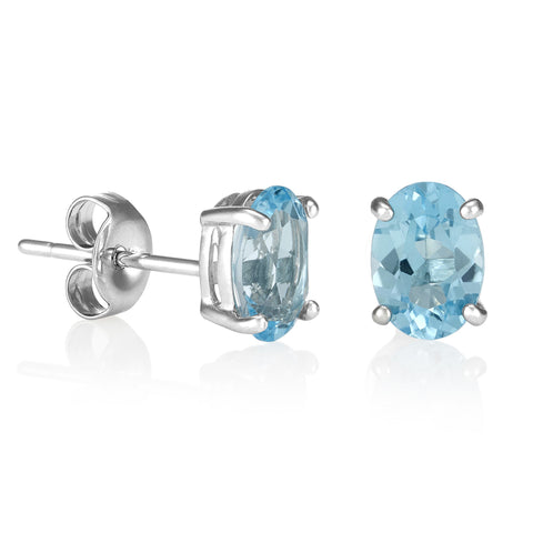 Blue Topaz Oval Stud Earrings