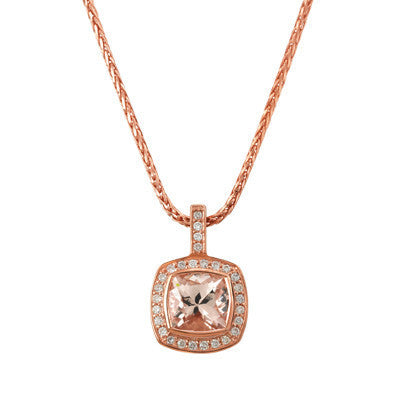 Rose Gold Morganite and Diamond Pendant