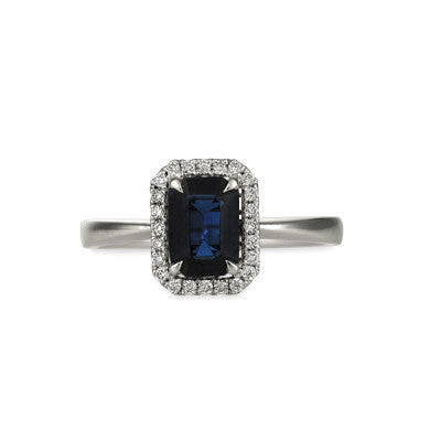 Natural Emerald Cut Sapphire and Diamond Ring