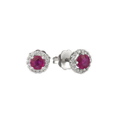 White Gold Natural Ruby and Diamond Earrings