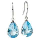Blue Topaz Pear Shape Hook Earrings