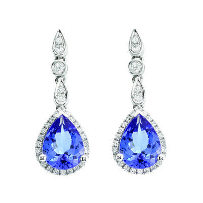 Pear Tanzanite and Diamond Earrings