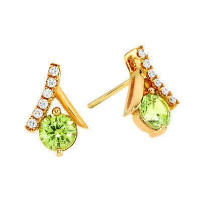 Andradite Garnet and Diamond Earrings