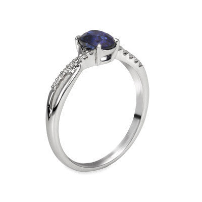 Natural Oval Cut Sapphire and Diamond Ring