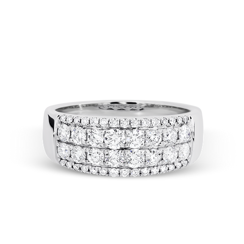 18ct White Gold Diamond 4 Row dress ring