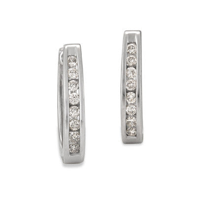 Channel Set Diamond Huggie Earrings