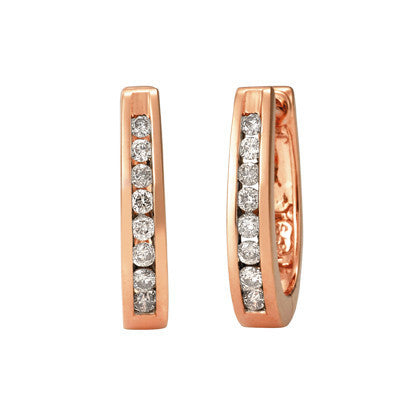 Channel Set Diamond Huggies Earrings