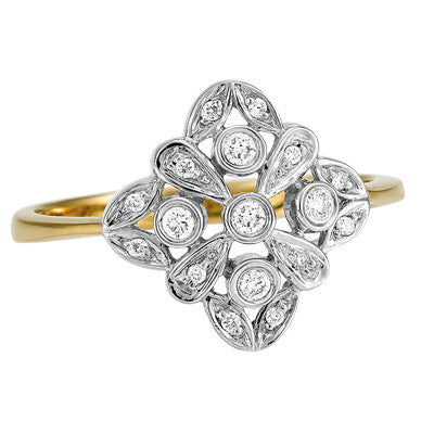 Gold and Diamond Art Deco Ring