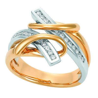Cross over two tone Diamond Dress Ring