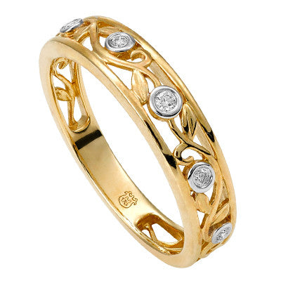 Gold and Diamond Leaf Design Dress Ring