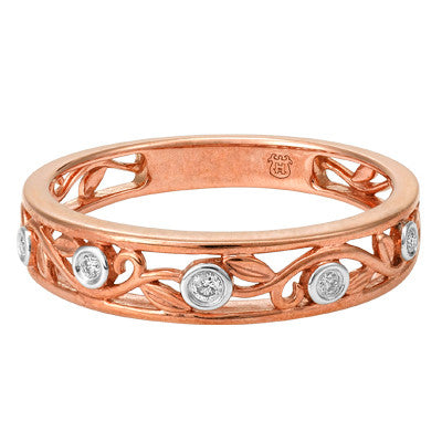 Rose gold and Diamond Leaf Design Ring