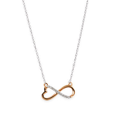 Rose and White Gold Diamond Infinity Necklace