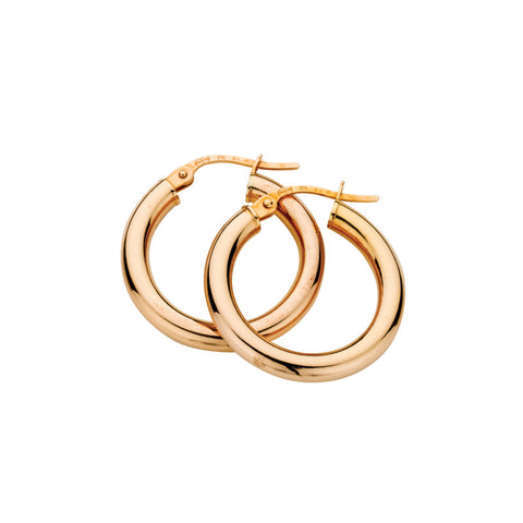 Rose Gold Polished Hoop Earrings