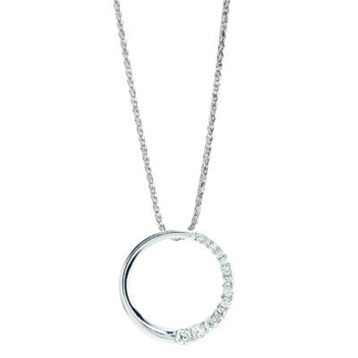 White Gold Circle Design Diamond Pendant