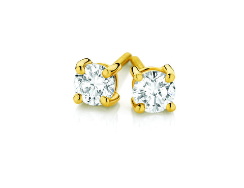 Yellow Gold Diamond Claw Set Stud Earrings