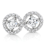 Round Brilliand Cut Halo Stud Earrings