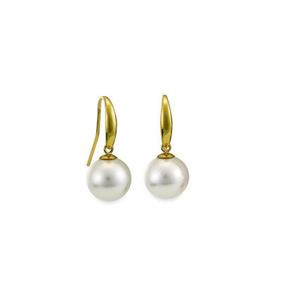 Yellow Gold South Sea Pearl Hook Earrings