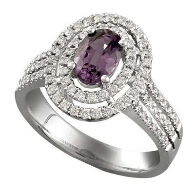 Oval Spinel and Diamond Ring