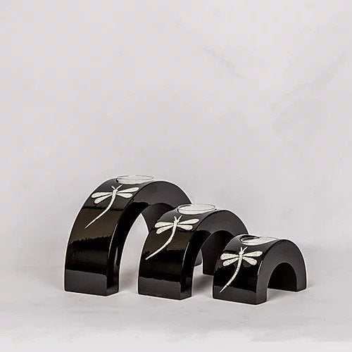 Black Eggshell Dragonfly Candle Stands