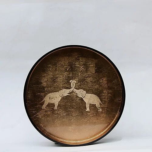 Kissing Elephants Tray (Round)