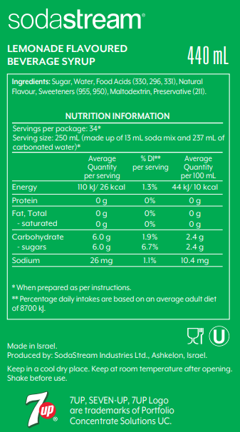 7Up Nutrition Label