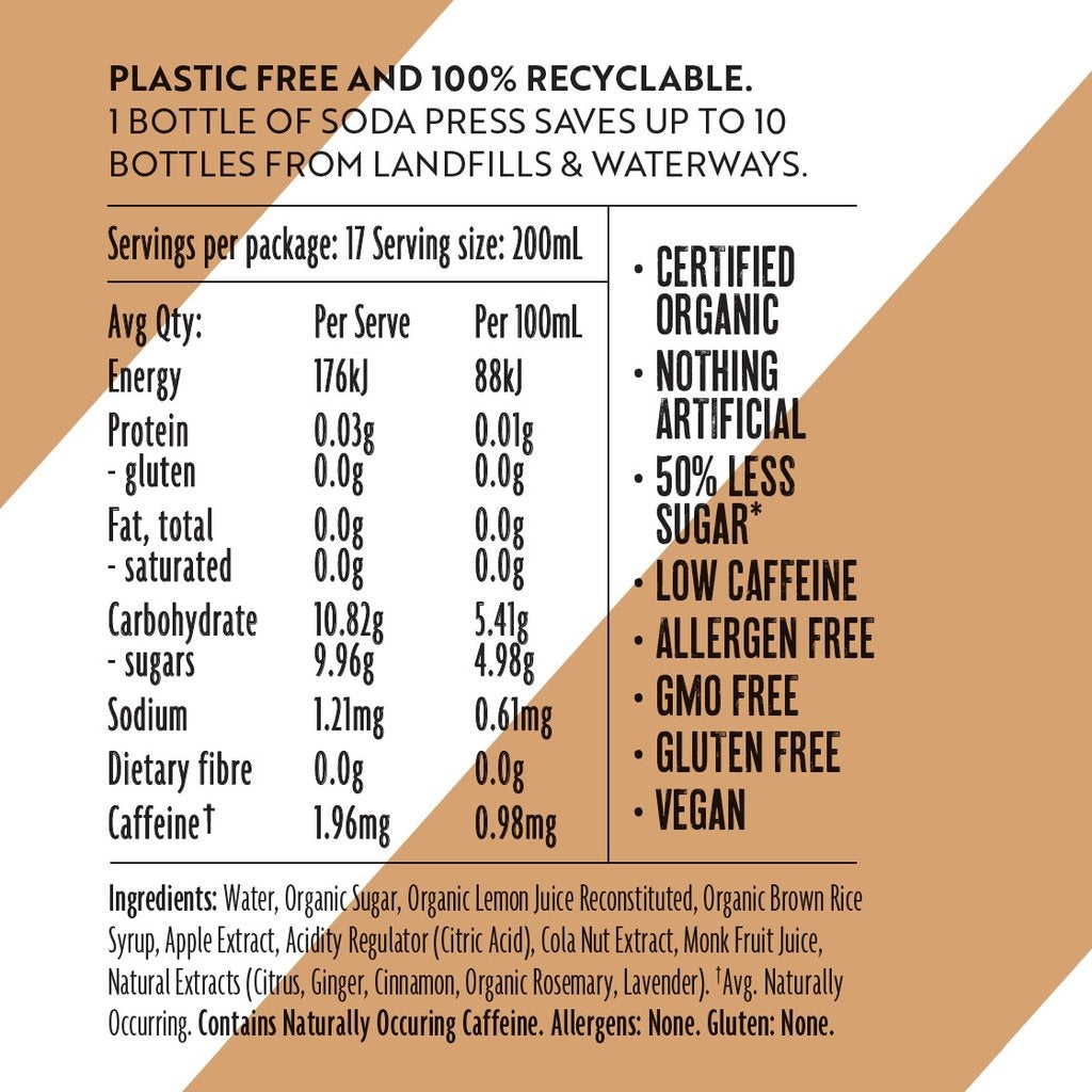 Soda Press Co Organic Cola nutrition label