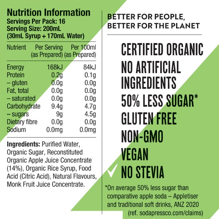 Soda Press Co Indian Tonic nutrition label