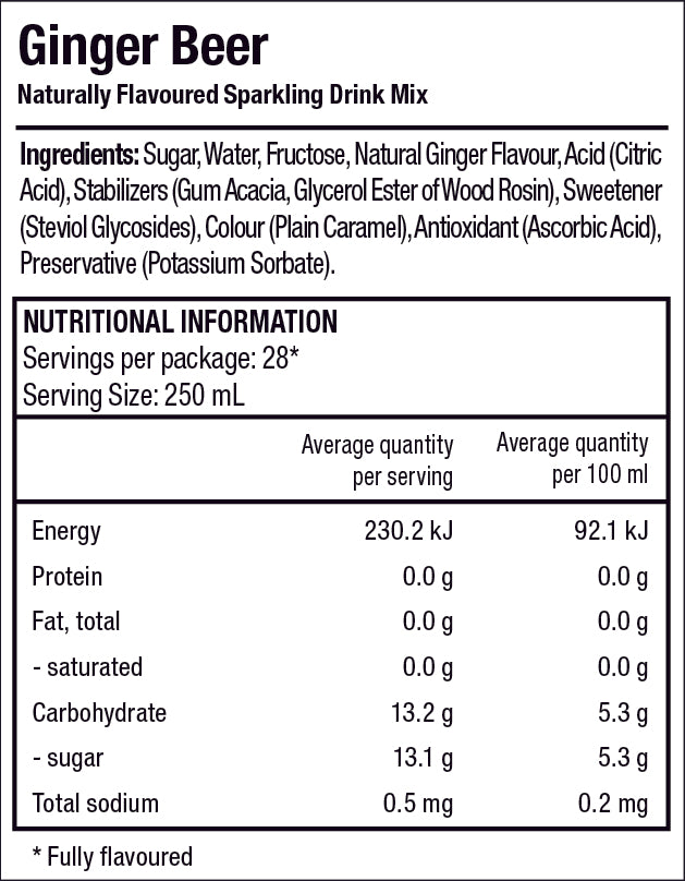 Classics Ginger Beer Nutrition Label