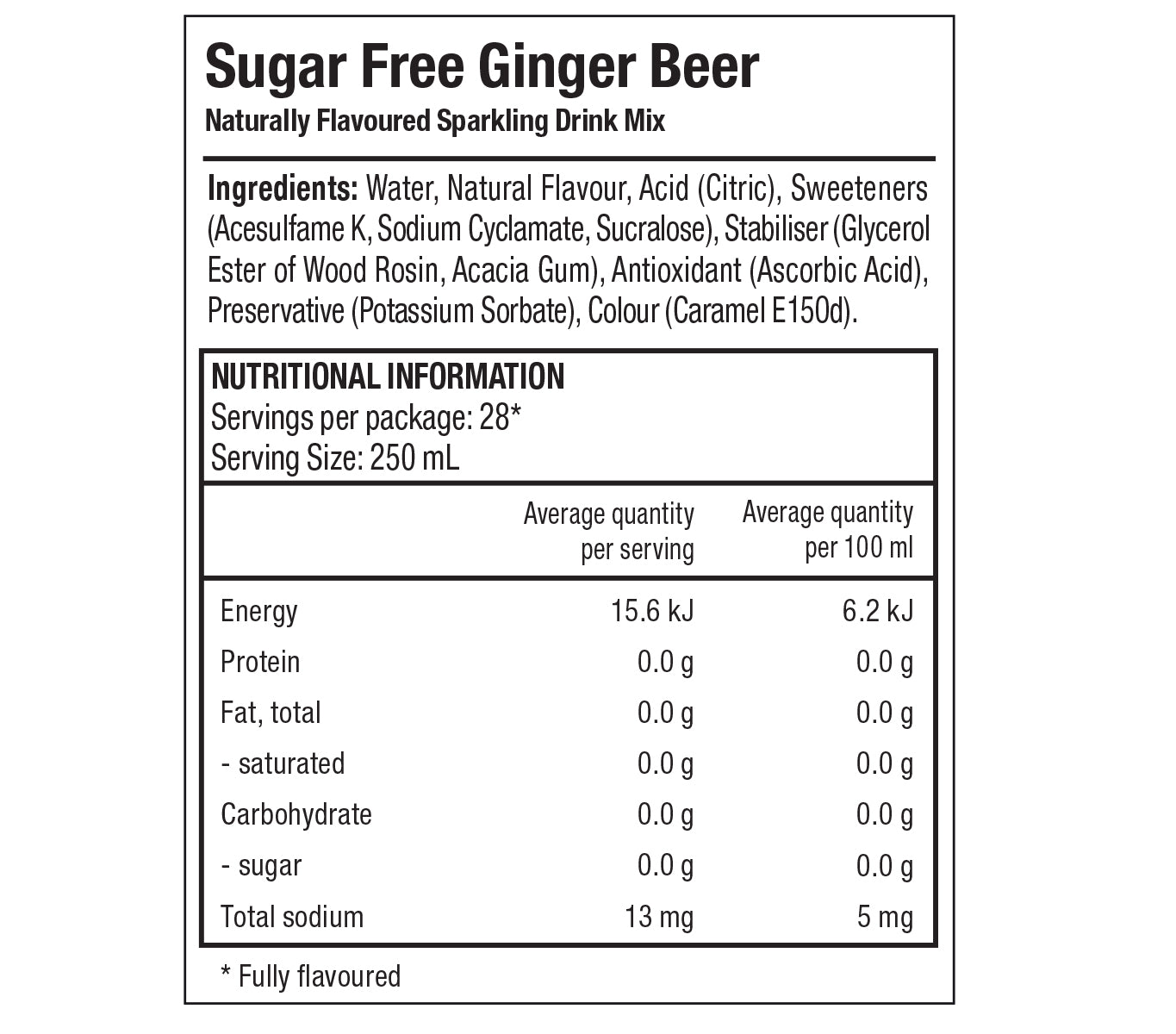 Classics Sugar Free Ginger Beer Nutrition Label