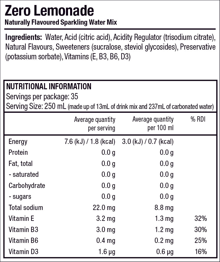 Zeros Lemonade nutrition label