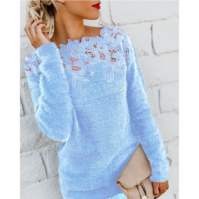 Exteren Women Solid Knitted Pullover V-Neck Long Sleeve Hollow Out Sweater Top Blouse