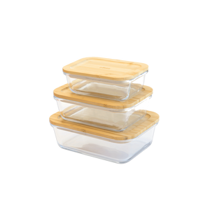 Rectangular glass-bamboo container (1000ml)