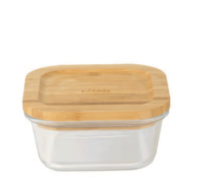 Square glass-bamboo container (520ml)