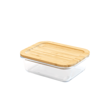 Load image into Gallery viewer, Rectangular glass-bamboo container (1000ml)