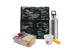 Packit Freezable Charcoal Camo Personal Cooler – In-use View