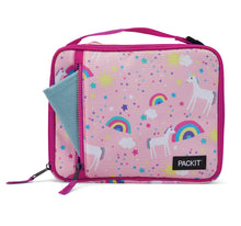 Load image into Gallery viewer, Packit Freezable Unicorn Pink Classic Lunchbox Bag – Front Pocket Usage View