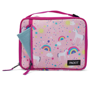 Packit Freezable Unicorn Pink Classic Lunchbox Bag – Front Pocket Usage View