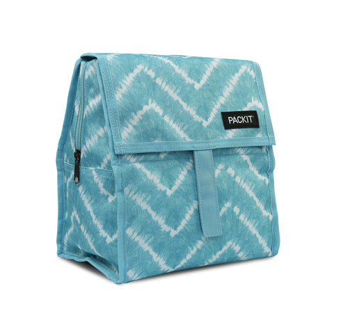 Packit Freezable Aqua Tie Dye Personal Cooler – Front View
